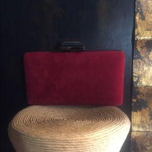 Red Suede Clutch Handbag.